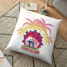 'Coronavirus Staycation Floor Pillow by hitpointer Floor Pillows, Throw Pillows, Staycation, My Arts, Vibrant, Cushions, It Is Finished, Art Prints, Printed