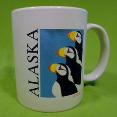 Alaska Penquins Coffee Mug Tea Cup Hot Chocolate White State Blue Galligaskins #