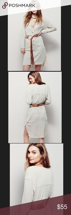"""**FREE PEOPLE** OJAI HENLEY size Large in Oatmeal **FREE PEOPLE** NWOT..Oatmeal """"OJAI"""" HENLEY..size Large..made from semi-sheer beach slub (52%Linen 48%Cotton)..tunic length..with front pockets, and rounded hem..rolled cuffs..side vents, for effortless fit..and a relaxed, shapeless silhouette..  •BELT NOT INCLUDED• Free People Tops Tunics"""