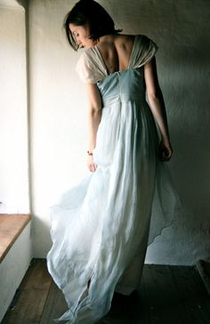 Wedding dress in light blue Naturally dyed silk by larimeloom