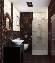 floral bathroom wall tiles designs brown and white with matching mirror and van
