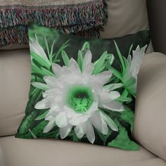 Discover «Cactus Flowers green 1389», Numbered Edition Throw Pillow by Barbara Fraatz - From $27 - Curioos Framed Art Prints, Canvas Prints, Welcome Gifts, Soft Fabrics, Cactus, Tapestry, Throw Pillows, Green, Artwork