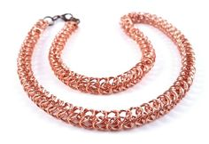 Minimaille Chainmaille Necklace Copper Tan Necklace Made To