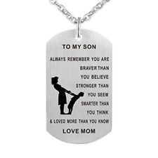 Dad Mom To Son Dog Tag Necklace Military Mens Jewelry Personalized Custom