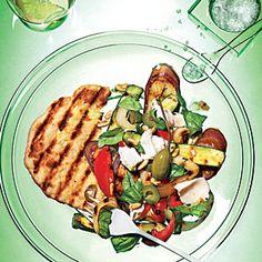 Grilled Caponata Salad with Grilled Flatbreads | MyRecipes.com
