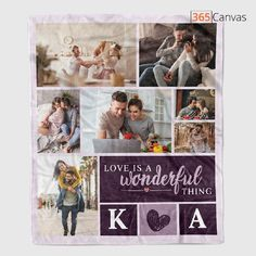"Whether you are celebrating your wedding anniversary, your holiday as a couple, or just because, the ""Love Is a Wonderful Thing"" photo collage fleece blanket makes a meaningful present. Add your favorite photos on an adorable collage to bring memories in your relationship to life. In design B, you can further customize the item and add the initials of your name. A keepsake like this is priceless, just like your love for each other."