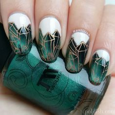 Nails: Emerald nail art design with magnetic polish and reverse stamping, by polilish
