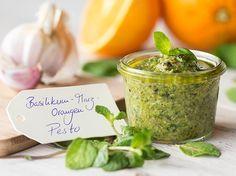 Basilikum-Minz-Orrangen-Pesto und fünf weitere Pestoideen