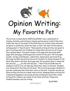 Opinion Writing: Favorite Pets--Students love telling which item they like the best. This activity encourages students to give the reason why they think their choice is the best.$