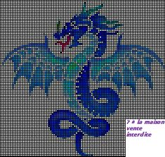 Cross Stitch Charts, Cross Stitch Designs, Cross Stitch Patterns, Hama Beads Patterns, Peyote Patterns, Pixel Drawing, Dragon Cross Stitch, Crochet Geek, Dragon Crafts