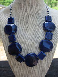 Navy Blue Porcelain Beaded Necklace. $20.00, via Etsy.