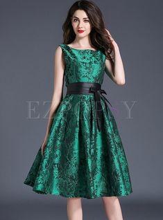 Dresses | Skater Dresses | Elegant Jacquard Weave Belt Square Neck Sleeveless Skater Dress
