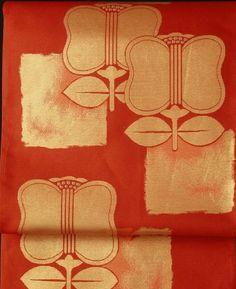 Scarlet fukuro obi / 緋色地 遠州椿柄 六通京袋帯 #Kimono #Japan
