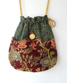 Green Tapestry Pocket Boho Bag Drawstring Bag Bohemian Bag Crossbody Purse. $40.00, via Etsy.