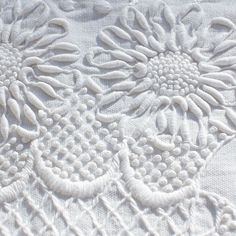 """Whitework Embroidery that's heavy and textured, worked with a product from the early called """"coronation cord."""" Coronation cord was a quick solution to creating textured whitework, because guess what? It's not really embroidered! Embroidery Needles, Learn Embroidery, White Embroidery, Vintage Embroidery, Ribbon Embroidery, Embroidery Patterns, Loom Patterns, Machine Embroidery, Hardanger Embroidery"""