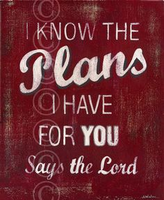 I Know The Plans I Have For You Says The Lord - Red Retro Style Word Art, Jeanne Winters, $21