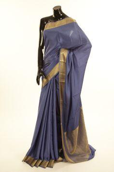Mysore Crepe- crepe lilac blue saree with blouse