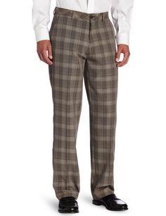 Haggar Men's C18 Broken Glen Plaid Straight Fit Flat Front Pant,Brown,40x30