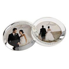 Dupla fényképkeret kristályokkal, ezüst színű ~ Ezüstözött, kristályokkal díszített dupla fényképkeret, egyedi ajándék esküvőre. #esküvő