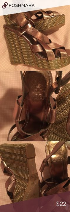 """Vince Camuto """"hattie"""" wedge Super lightweight. Leather upper/Synthetic lining and sole. Adjustable strap with buckle closure. Perfect for summer with dress or jeans. Almost brand new. Only wore it 4times! It is a 4 1/2 inches. Vince Camuto Shoes Heels"""