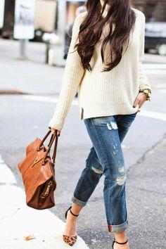 chunky off-white sweater, boyfriend jeans, tan/black ankle strap heels