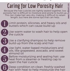 If you have low porosity hair, here are some tips to help you care for your hair. Humectants like honey, vegetable glycerin and aloe Vera… Best Natural Hair Products, Natural Hair Regimen, Natural Hair Updo, Natural Haircare, Natural Hair Growth, Natural Hair Journey, Natural Hair Styles, Natural Curls, Low Porosity Hair Products