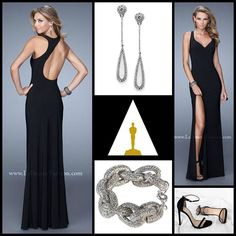 La Femme 21291 ~ black dress ~ dress with slit ~ academy awards ~ prom 2015 ~ red carpet look ~ diamond earrings ~ prom inspiration ~ hollywood glamour ~ strappy heel ~ long prom dress ~