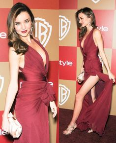 Miranda Kerr in a burgundy Zuhair Murad chiffon gown (from the Fall 2012 collection) at the 70th Annual Golden Globe Awards held at the Beverly Hilton Hotel in Los Angeles.