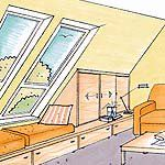 Use the roof slope - attic Slanted Ceiling, Compact Living, Attic Storage, Attic Rooms, Fixer Upper, My House, Sweet Home, New Homes, House Design