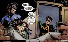 Two boy wonders, and one lucky gir---waitaminute, Tim is like, 15 here. WTF, Babs?