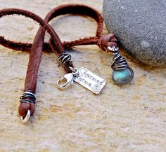 Petite Labradorite Focal Leather Bracelet by CharmedKarmaJewelry, $40.00