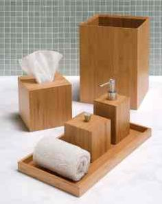Ordinaire Seville Classics 5 Pc Bamboo Bathroom Accessory Set. The Simple And Elegant  Look Of This