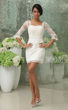 Vintage Half-Sleeve Short Lace Wedding Dress With Lace Overlay. #lace #weddings #DorisWedding.com