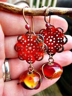 Dangle earrings. Chandelier. Red. Lampwork glass & enameled metal flower charm. Jewelry. Earrings. http://www.mckeejewelrydesigns.com/  Andria McKee, McKee Jewelry,  McKee Jewelry Designs,   Hand made jewelry, jewellery