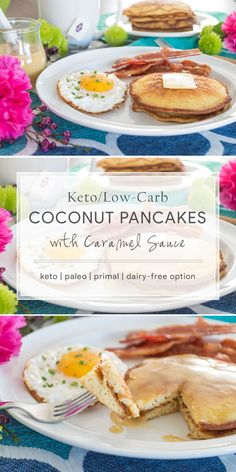 Keto Coconut Pancakes with Caramel Sauce. This paleo, primal-inspired, dairy-free recipe is a great option for breakfast- or breakfast for dinner! :)