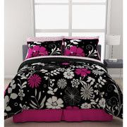 Black White Pink Floral Reversible TWIN FULL QUEEN Comforter Bedding Set NEW