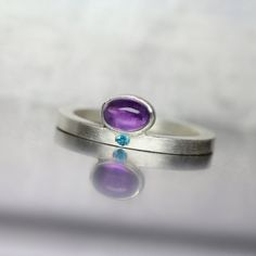 Modern Oval Amethyst Paraiba Topaz Silver Ring Purple Electric Blue Minimalistic…