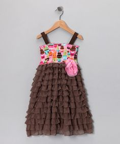 Brown Cupcake Party Smocked Ruffle Dress - Toddler