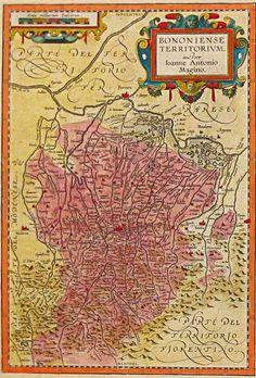 """ABRAHAM OERTEL detto ORTELIUS (1527 - 1598)  """"Bononiense Territorium""""  Dall'opera: Theatrum Orbis Terrarum, Anversa, 1609"""