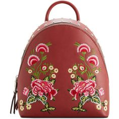 Embroidered Studded Backpack (684.870 IDR) ❤ liked on Polyvore featuring bags, backpacks, backpack, studded backpack, floral rucksack, strap bag, strap backpack and decorating bags