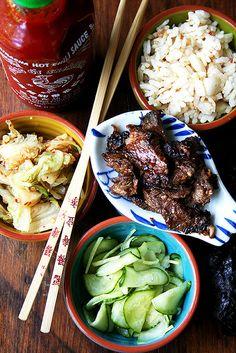 Bulgogi = mirin, Granny Smith apple, soy sauce, corn/brown/maple syrup, green onion, hot pepper paste, ginger, garlic, sesame oil, rice vinegar, steak.