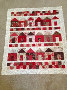 Cute Little House Quilt in Red, White & Creams