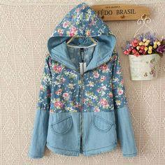 Style: Sweet Material: Denim Color: Dark Blue / Light Blue Size: One size Bust:100CM(39.37