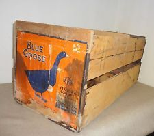 Old Vintage Wood Wooden Fruit Crate Shipping Box Blue Goose Foothill Valencias