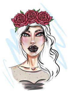 #digitalart #fashionart #illustrations #punk #roses #painting #portfolio #makeup