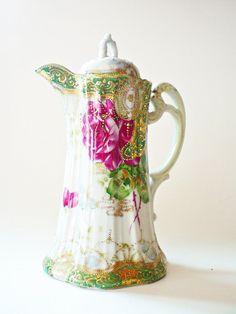 Antique Nippon Porcelain Chocolate Pot Shabby Chic China Coffee Pot Server…