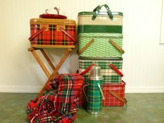 Vintage Green Plaid Thermos Picnic Camping by NewLifeVintageRVs