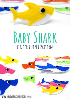 Baby Shark Finger Puppet Free Pattern - KUKLALAR - A Baby Shark finger puppet is a great way to make the song come alive! Sew Baby Shark and his famil - Felt Puppets, Felt Finger Puppets, Hand Puppets, Sewing Patterns Free, Free Sewing, Sewing Tips, Sewing Tutorials, Sewing Hacks, Free Pattern