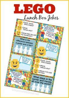 Printable LEGO Lunch Box Notes using LEGO Jokes -I love putting these jokes in the kiddo's lunch.