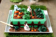 Quite possibly most adorably sweet veggie garden cake, complete with darling bunny rabbits, ever!